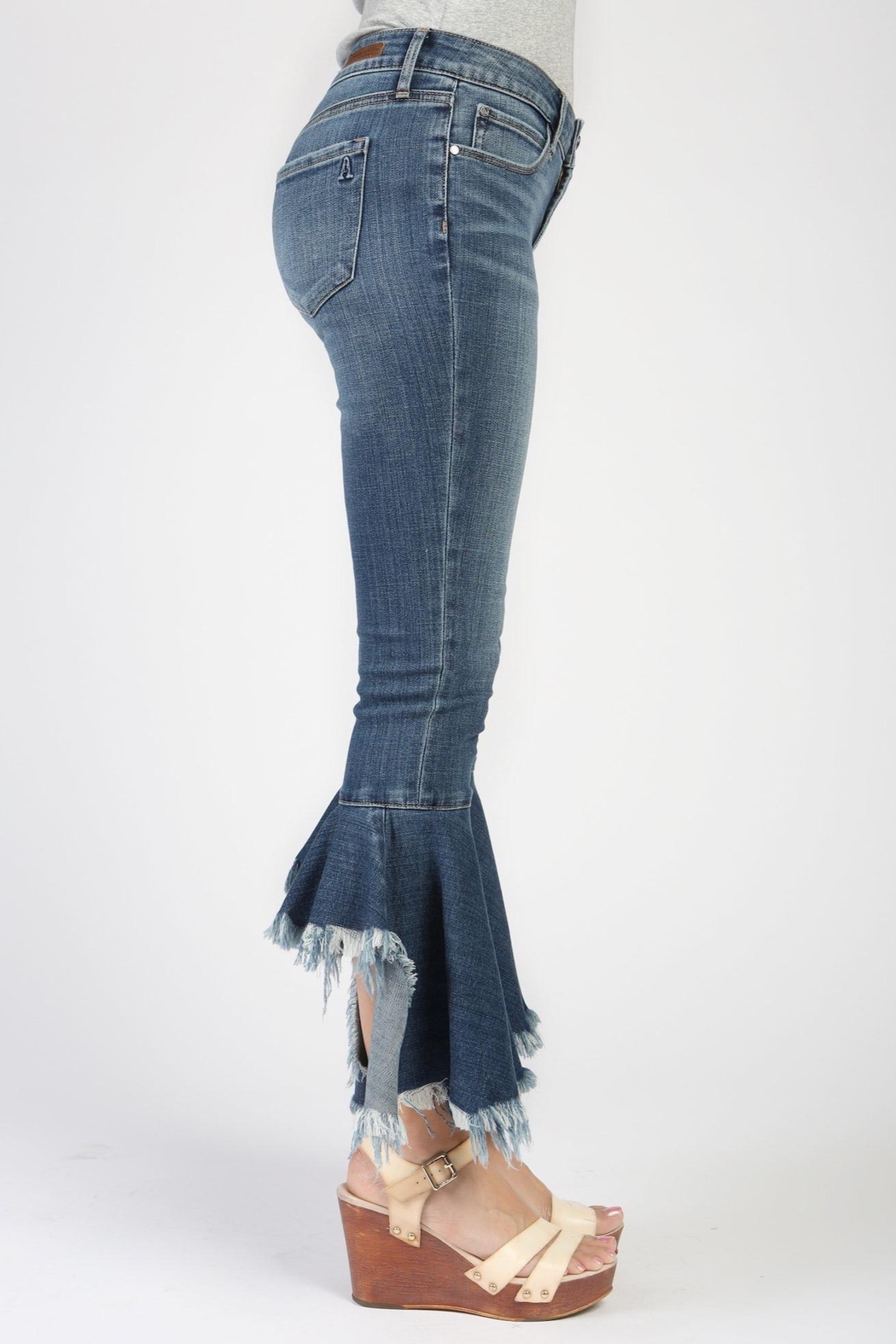 Articles of Society Distressed Crop Flare Jeans - Side Cropped Image
