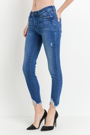 just black Distressed Cropped Jeans - Product Mini Image