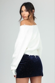 Honey Punch Distressed Cropped Sweater - Front full body
