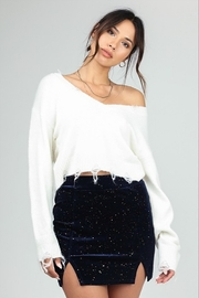 Honey Punch Distressed Cropped Sweater - Front cropped