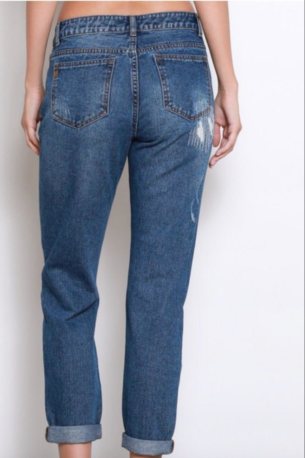 Wishlist Distressed-Denim Boyfriend Jeans - Back Cropped Image