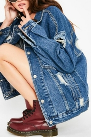 Pretty Little Things Distressed Denim Jacket - Product Mini Image