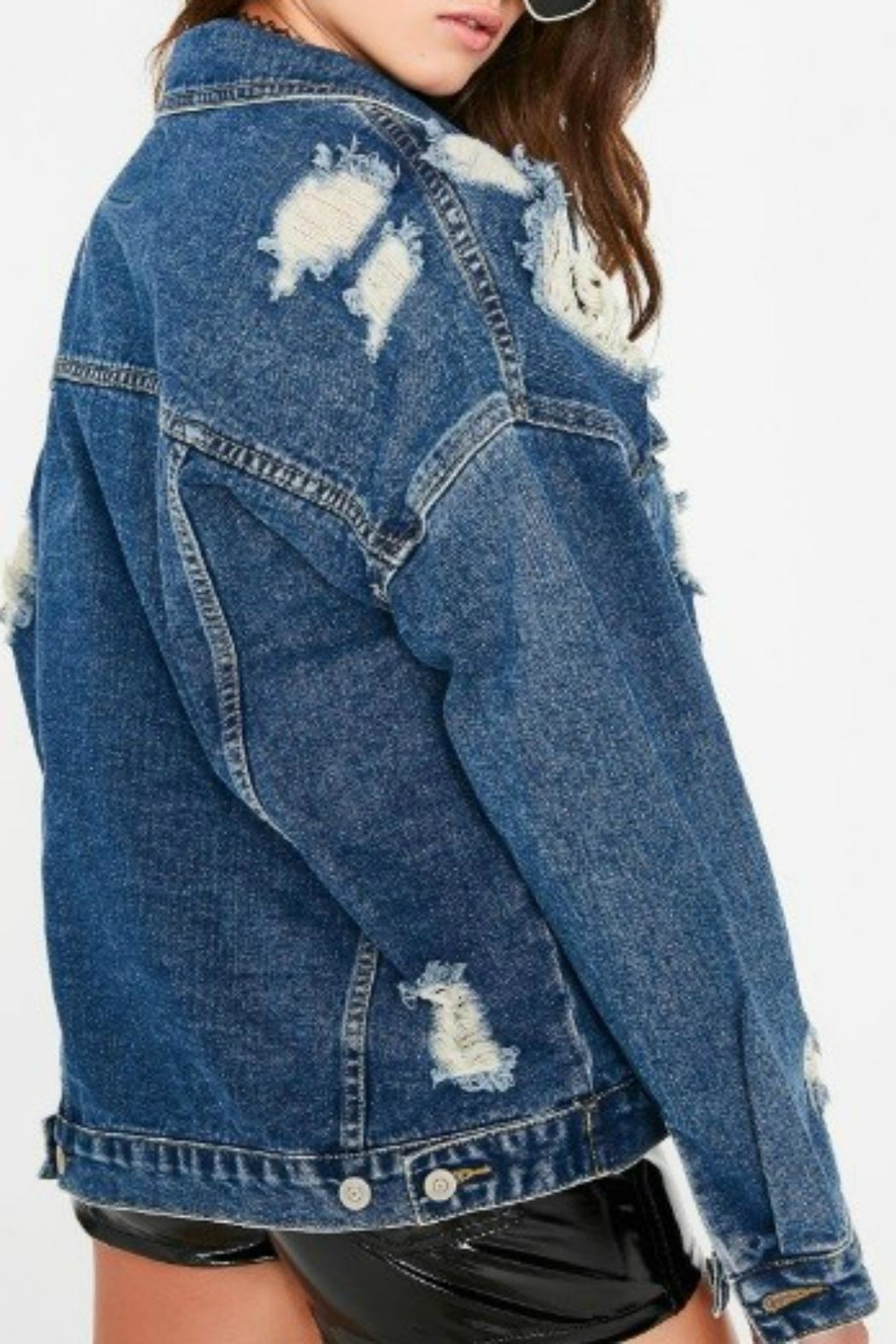 Pretty Little Things Distressed Denim Jacket - Front Full Image