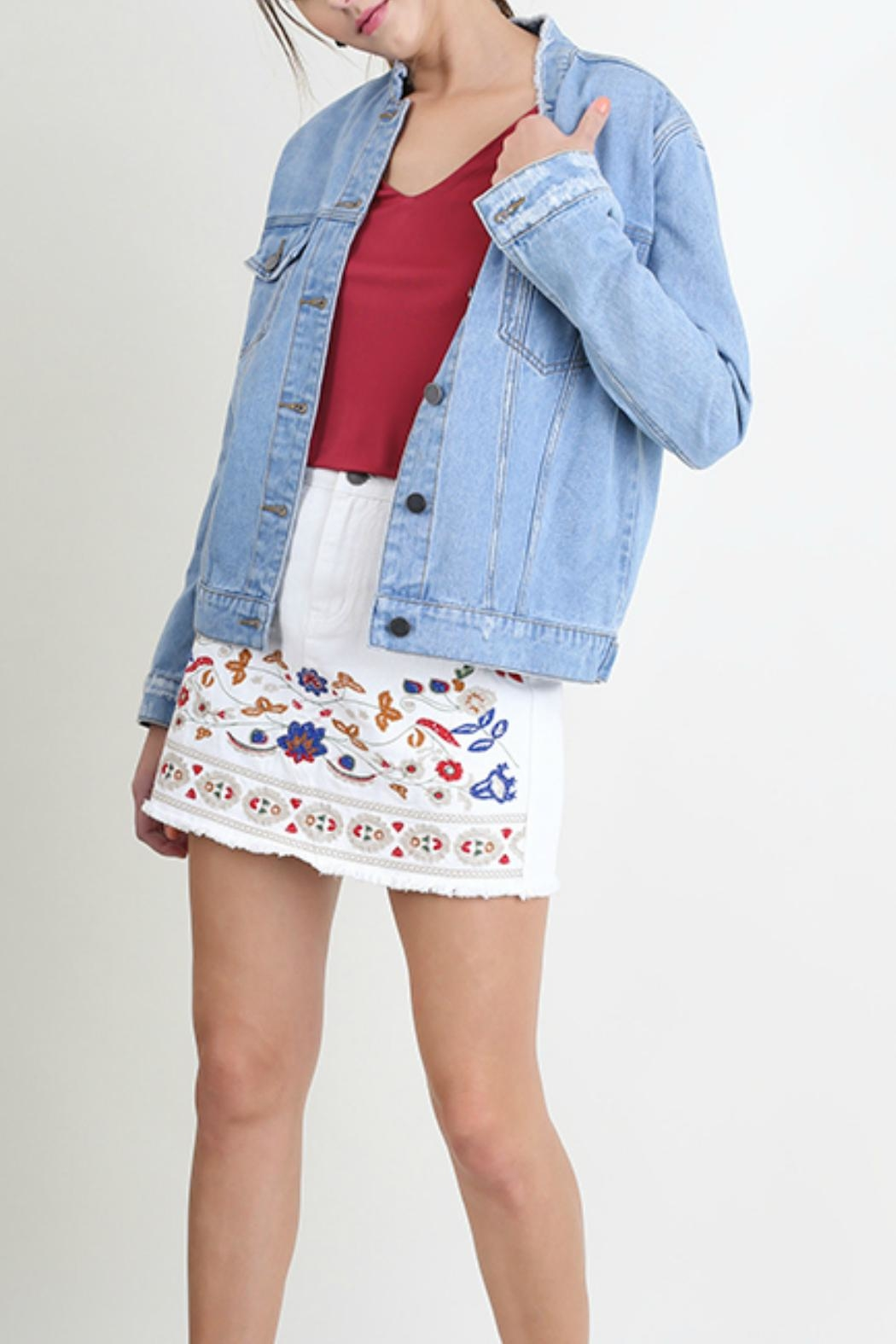 Umgee USA Distressed Denim Jacket - Front Cropped Image