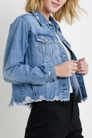 Just USA Distressed Denim Jacket - Front full body