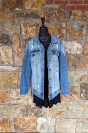 Soulstice Distressed Denim Jacket w Red Stones Lips - Front full body