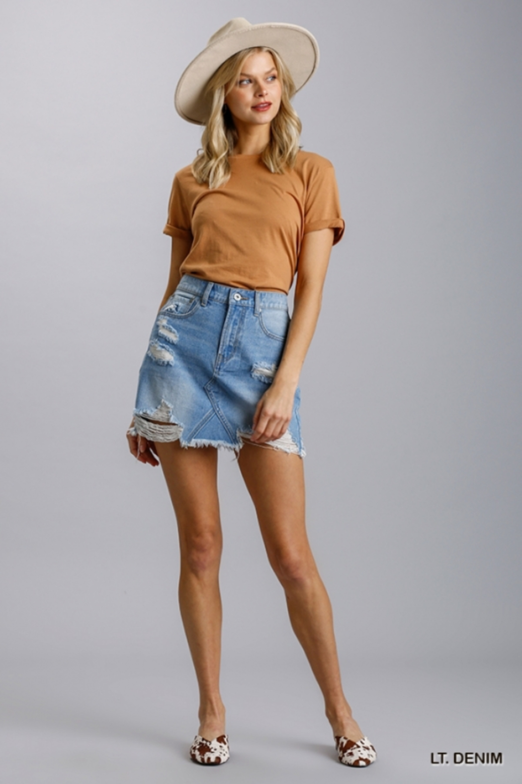 umgee  Distressed Denim Jean Skirt - Front Cropped Image