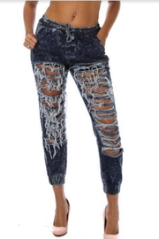 5th Culture Distressed Denim Joggers - Product Mini Image