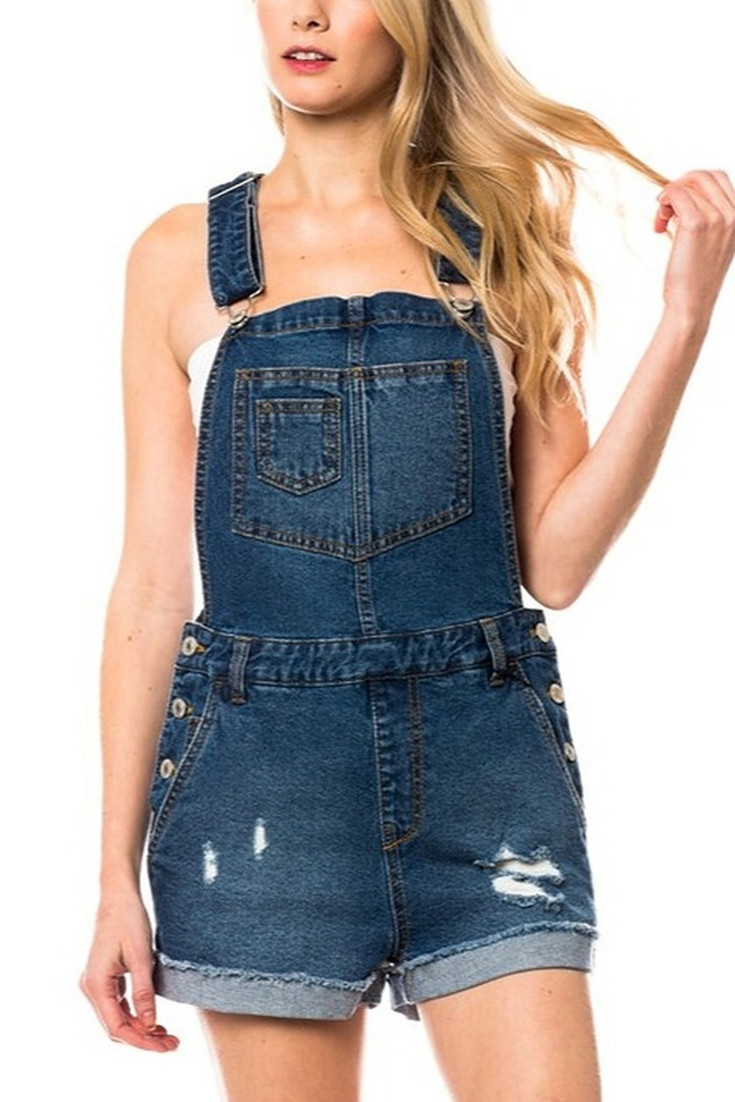 Lyn-Maree's  Distressed Denim Overall Shorts - Main Image
