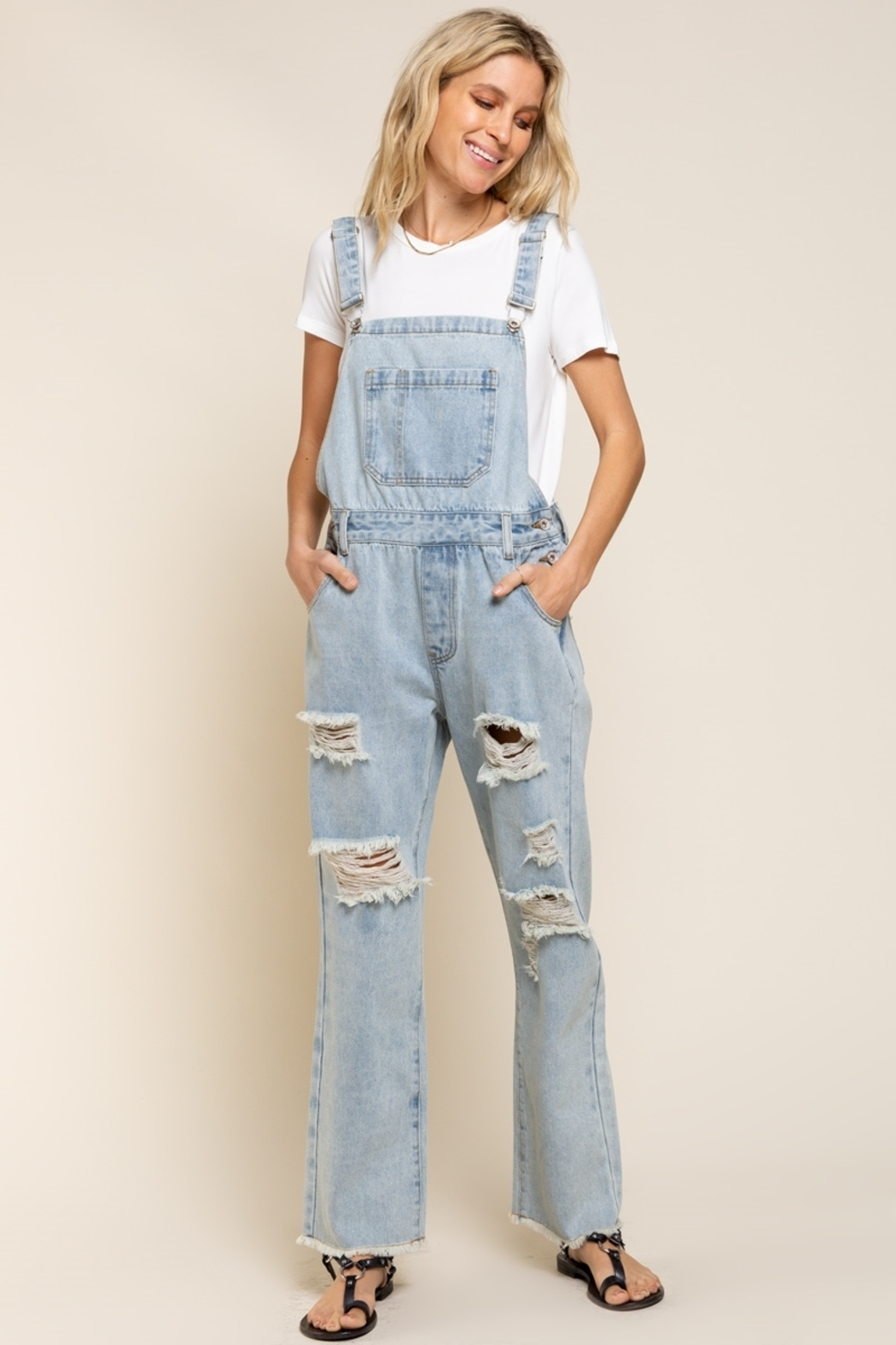 POL  Distressed Denim Overalls - Front Cropped Image