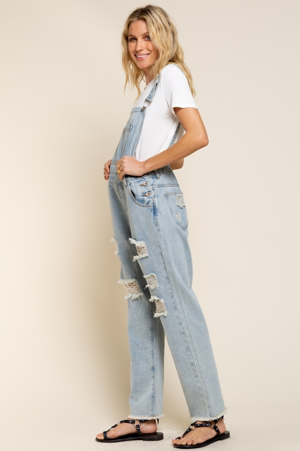 POL  Distressed Denim Overalls - Side Cropped Image