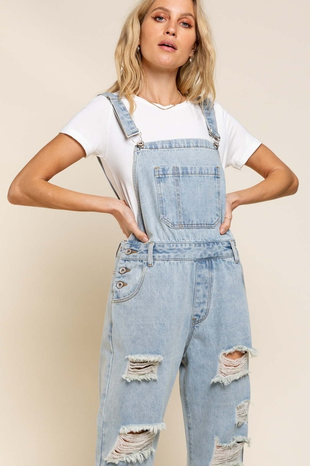 POL  Distressed Denim Overalls - Front Full Image