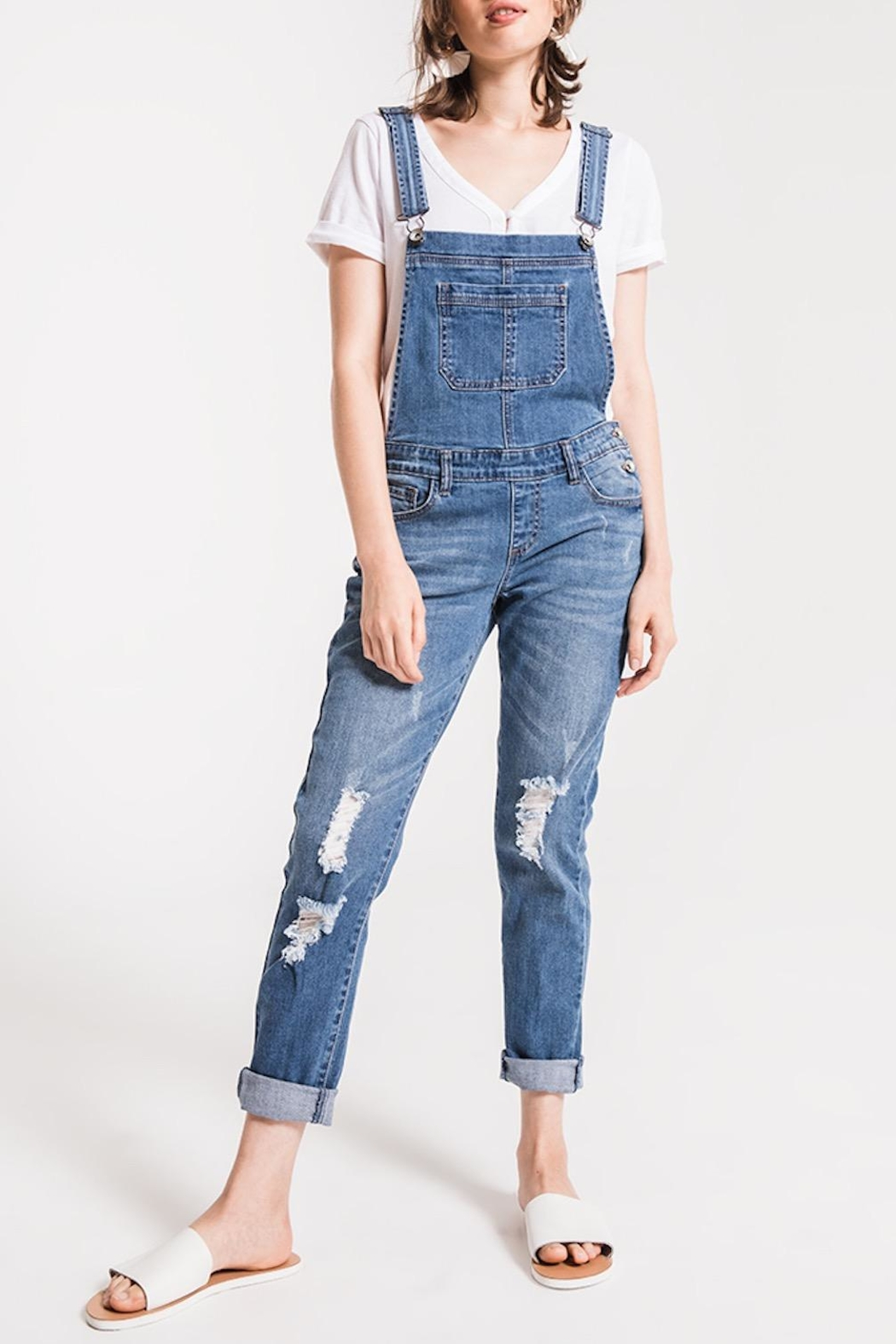 Others Follow  Distressed Denim Overalls - Main Image