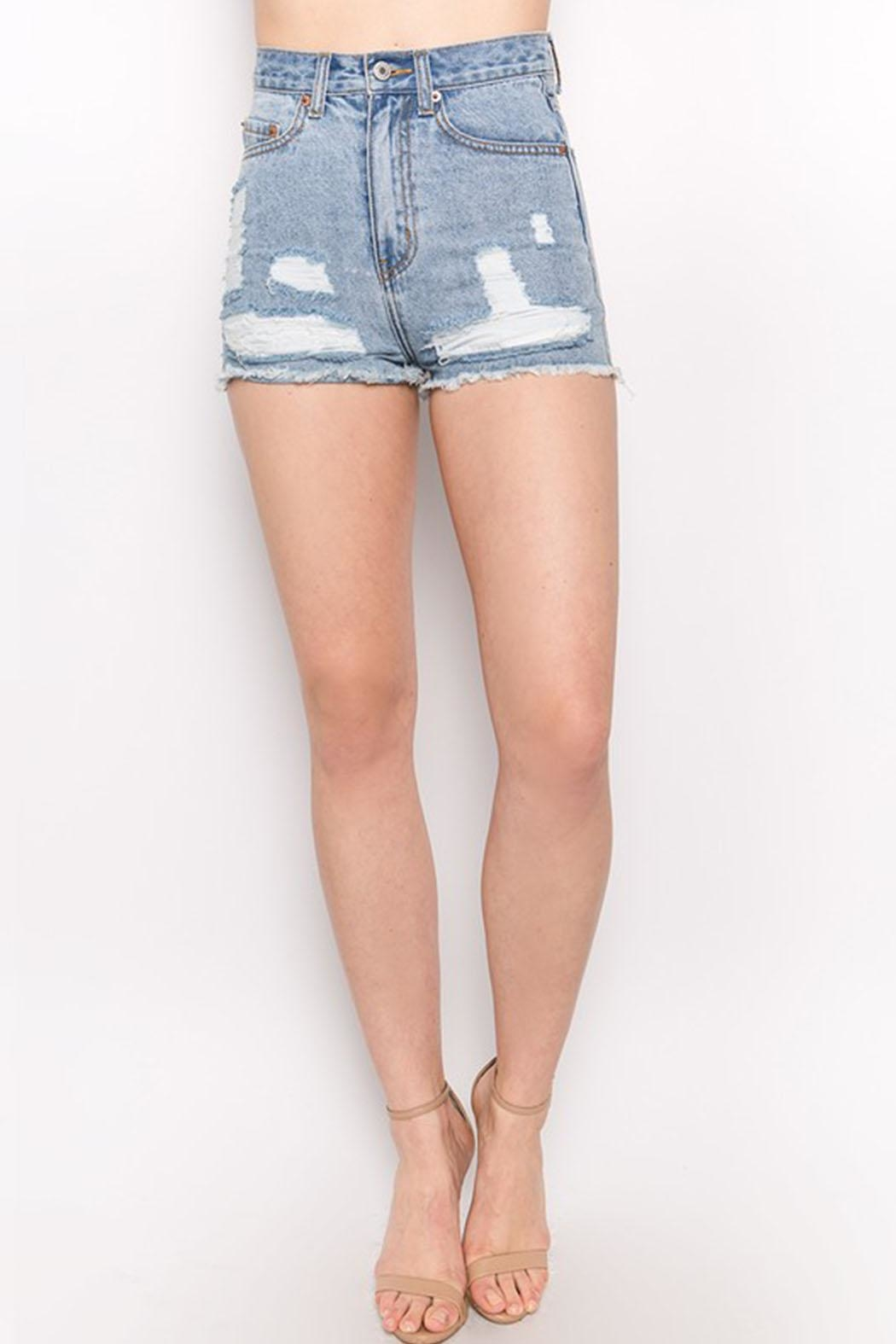 Signature 8 Distressed Denim Shorts - Main Image