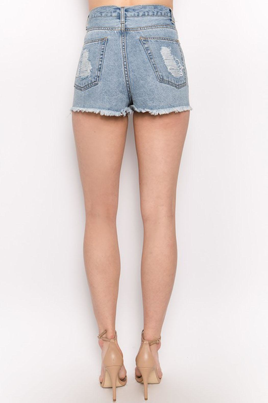 Signature 8 Distressed Denim Shorts - Side Cropped Image