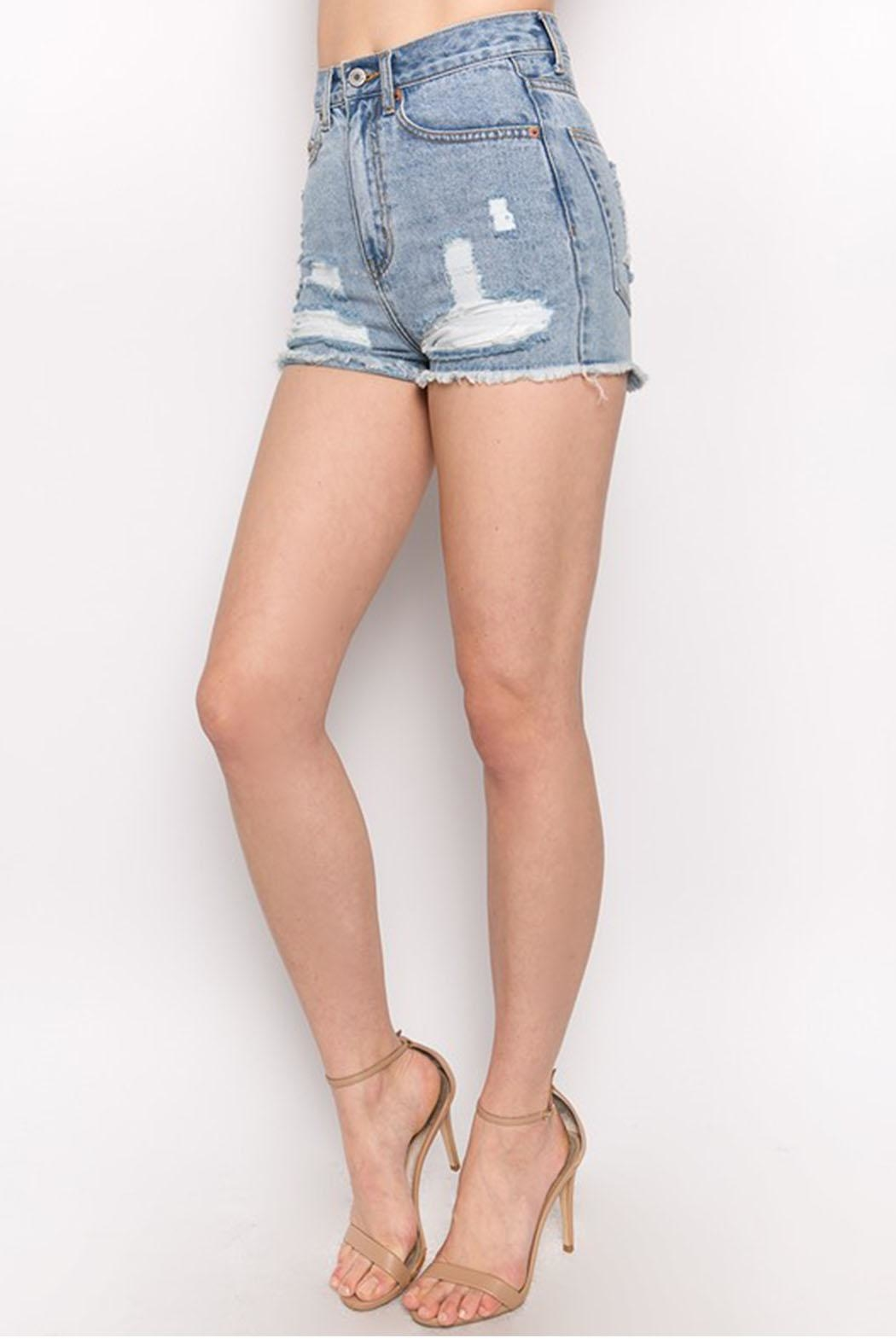 Signature 8 Distressed Denim Shorts - Front Full Image