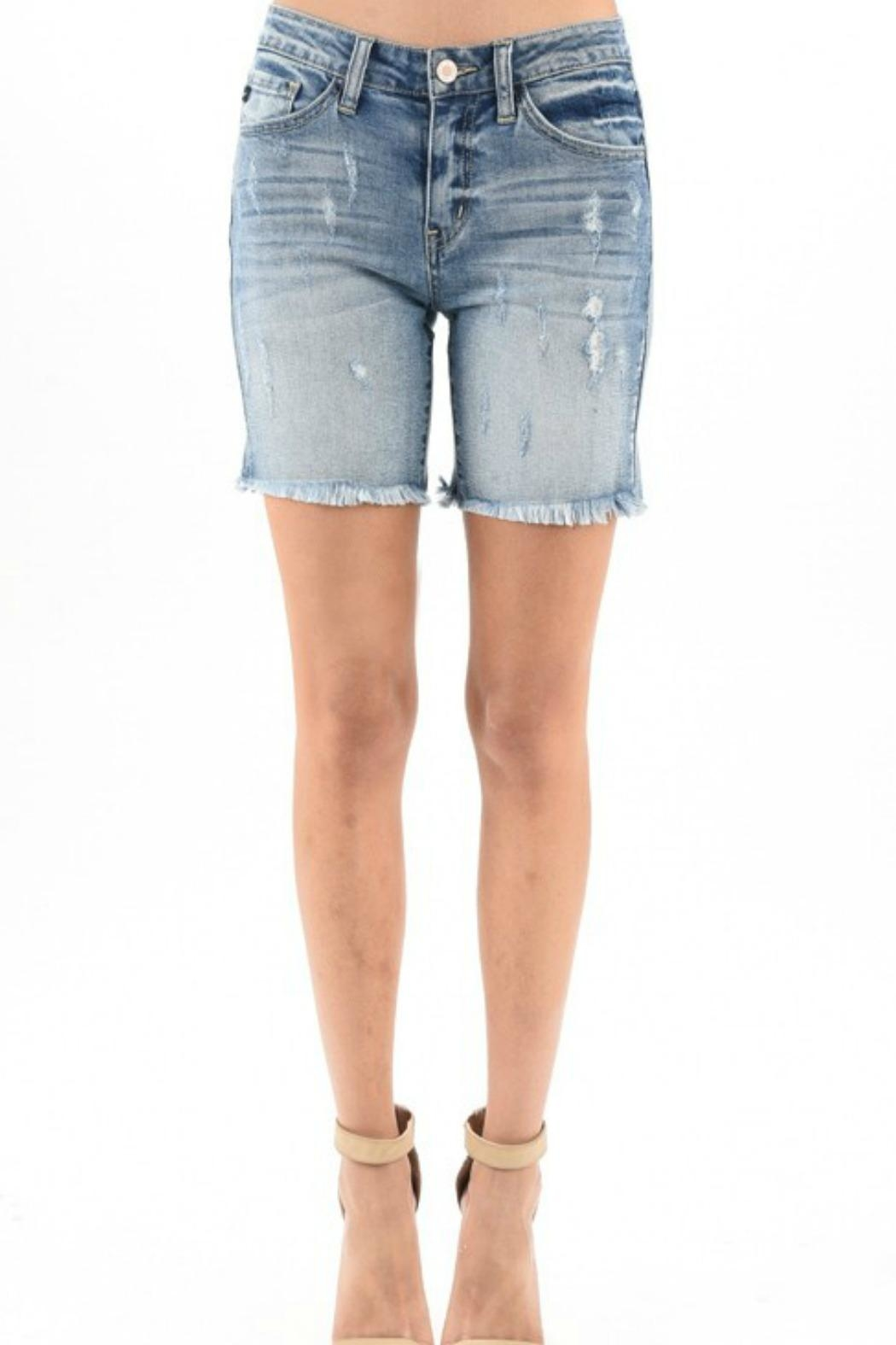 KanCan Distressed Denim Shorts - Main Image