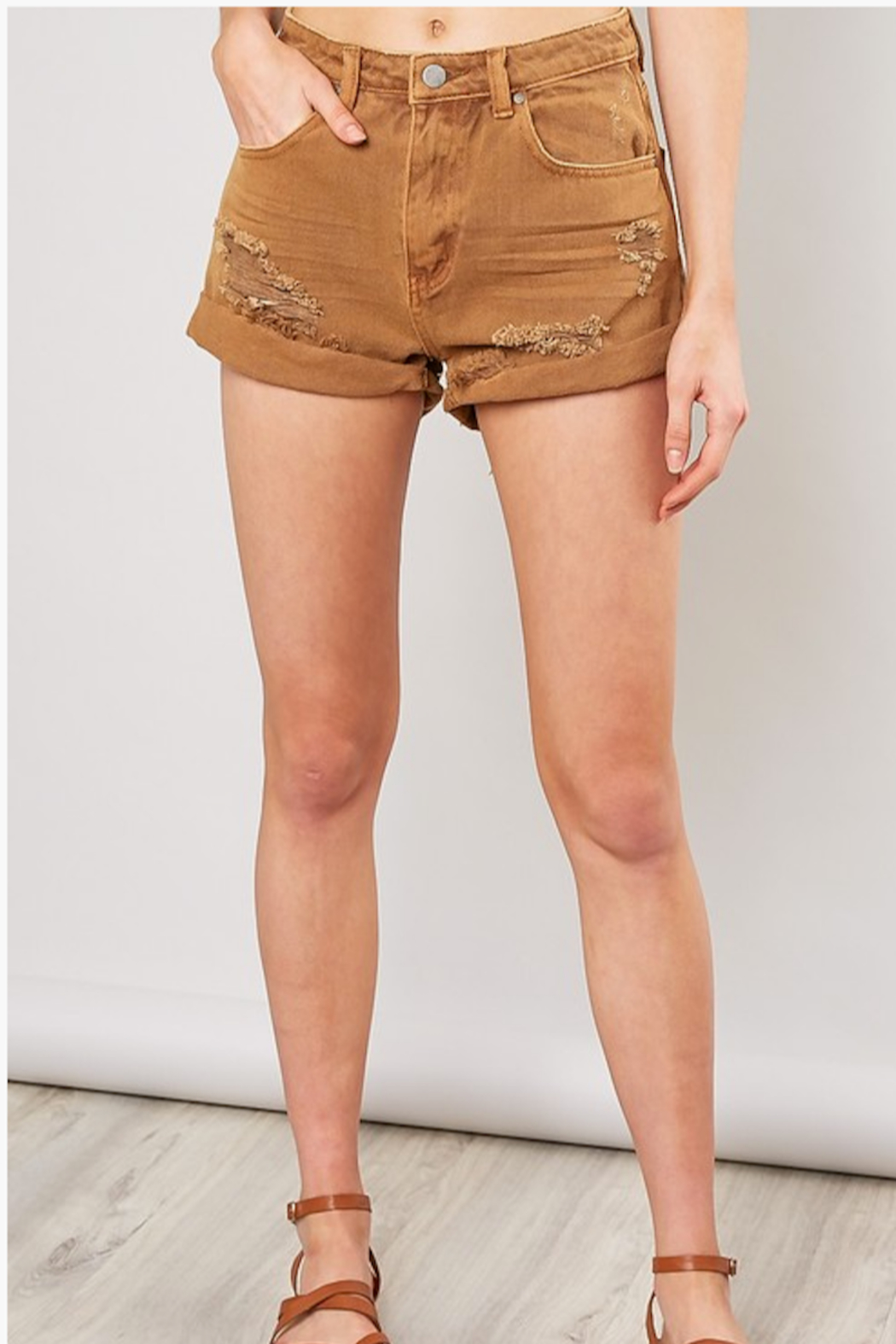 Mustard Seed  Distressed Denim Shorts - Front Cropped Image