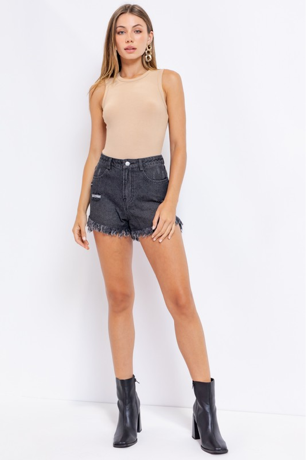 Le Lis Distressed Denim Shorts - Front Cropped Image