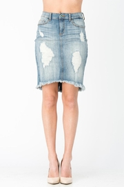 Sneak Peek Distressed Denim Skirt - Product Mini Image