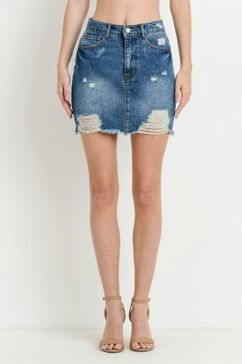 13416dc8fe8906 Pretty Little Things Distressed Denim Skirt from New Hampshire — Shoptiques