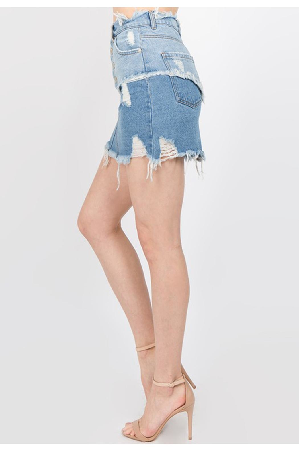 Signature 8 Distressed Denim Skirt - Front Full Image