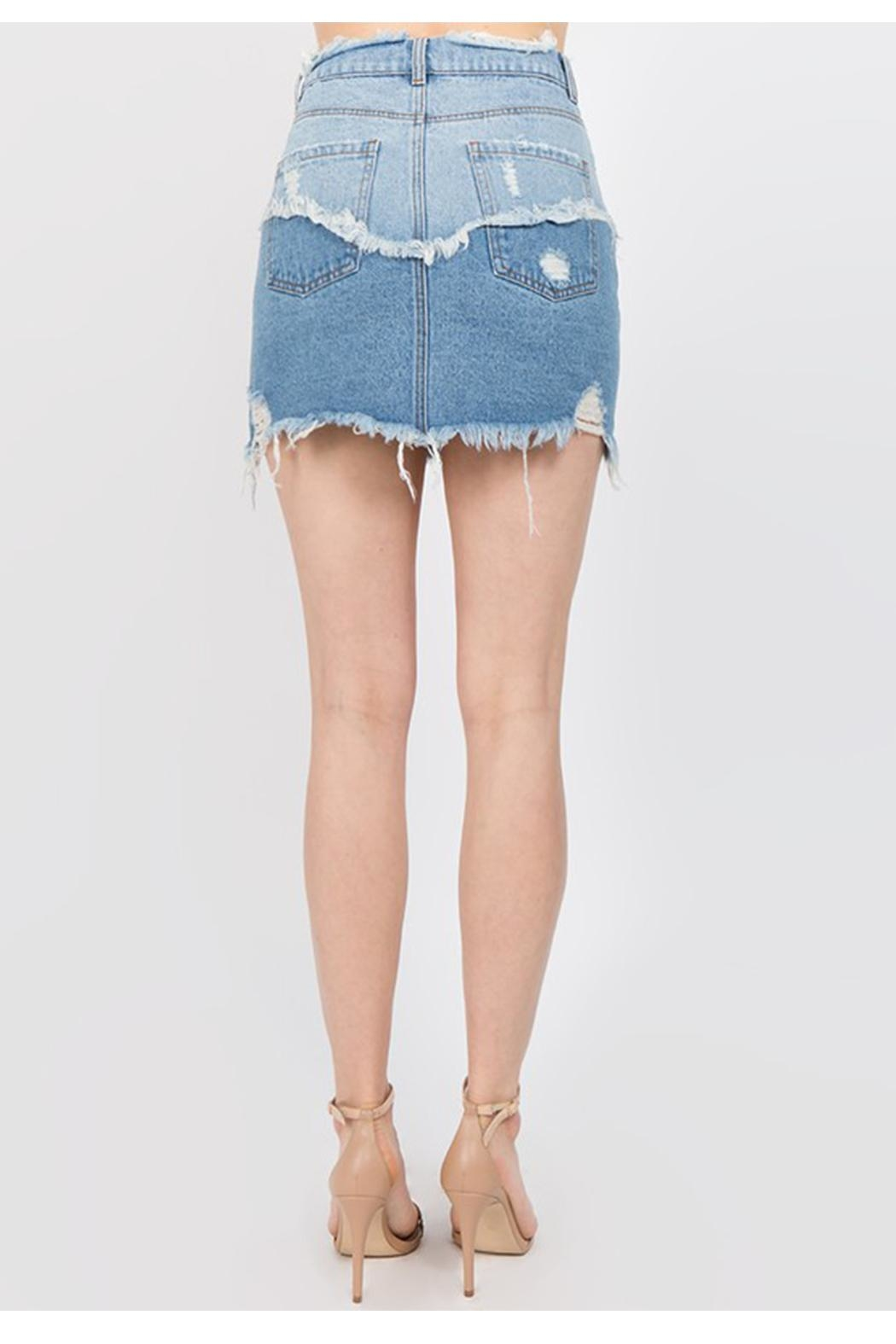 Signature 8 Distressed Denim Skirt - Side Cropped Image