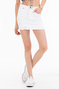 Olivaceous Distressed Denim Skirt - Product List Image