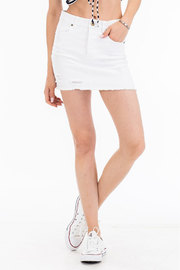 Olivaceous Distressed Denim Skirt - Product Mini Image