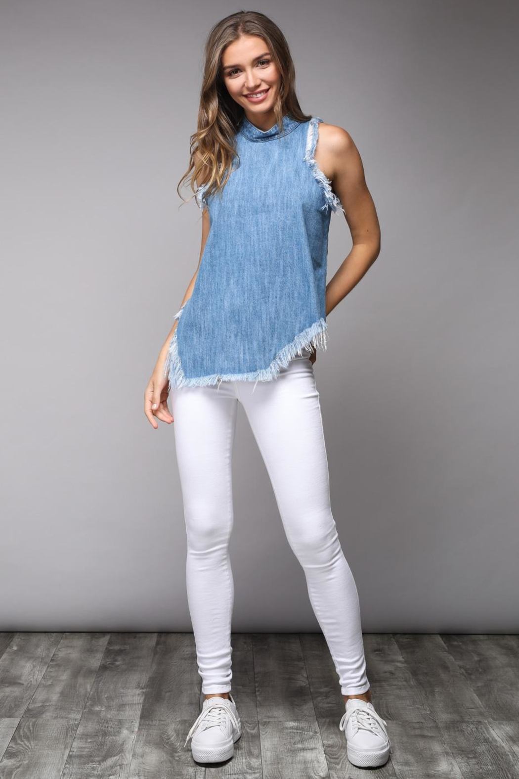 Do & Be Distressed Denim Top - Main Image