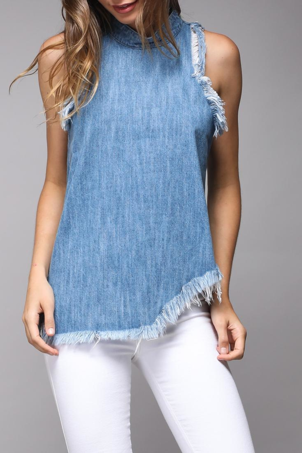 Do & Be Distressed Denim Top - Back Cropped Image