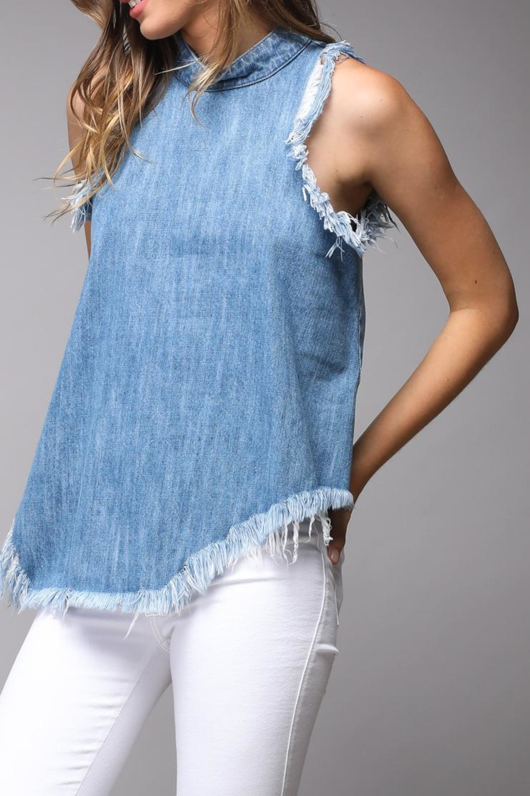 Do & Be Distressed Denim Top - Front Full Image