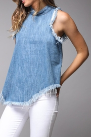 Do & Be Distressed Denim Top - Front full body