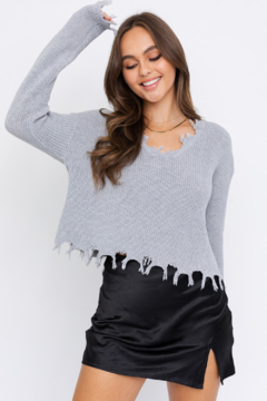 Le Lis Distressed Effect V-Neck Pullover Sweater - Product List Image
