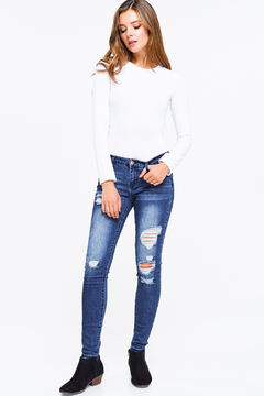 MONTREZ DISTRESSED FITTED SKINNY JEANS - Product List Image