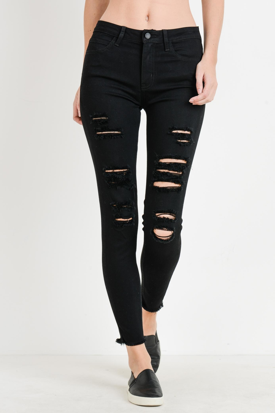 just black Distressed Frayed Skinny - Main Image