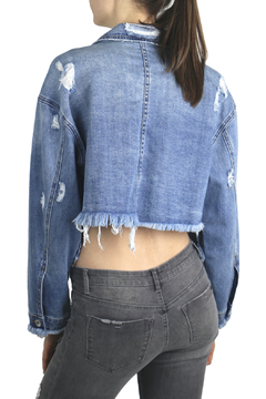 Tractr Blu Distressed Fringed Crop Denim Jacket - Alternate List Image