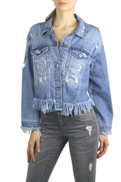 Tractr Blu Distressed Fringed Crop Denim Jacket - Product List Image