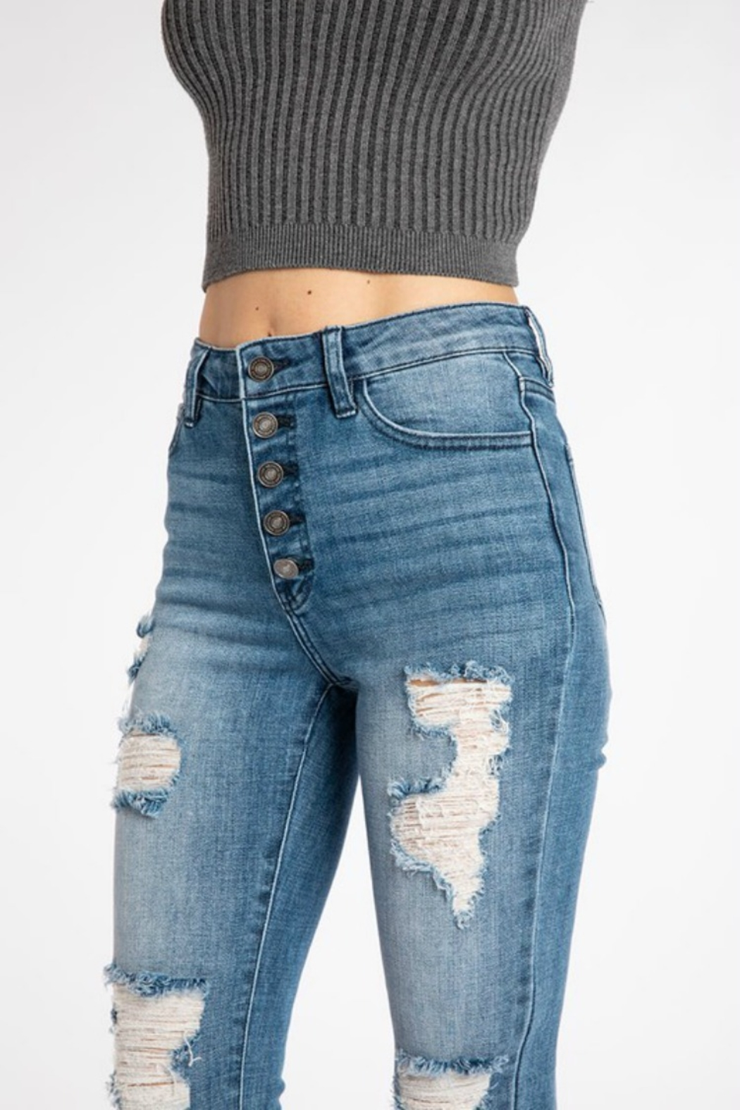 Kan Can DISTRESSED GEMMA HIGH RISE - Front Full Image