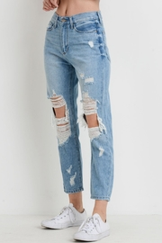 just black Distressed Girlfriend Jeans - Product Mini Image