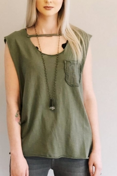 Baci Distressed Green Tank - Product List Image