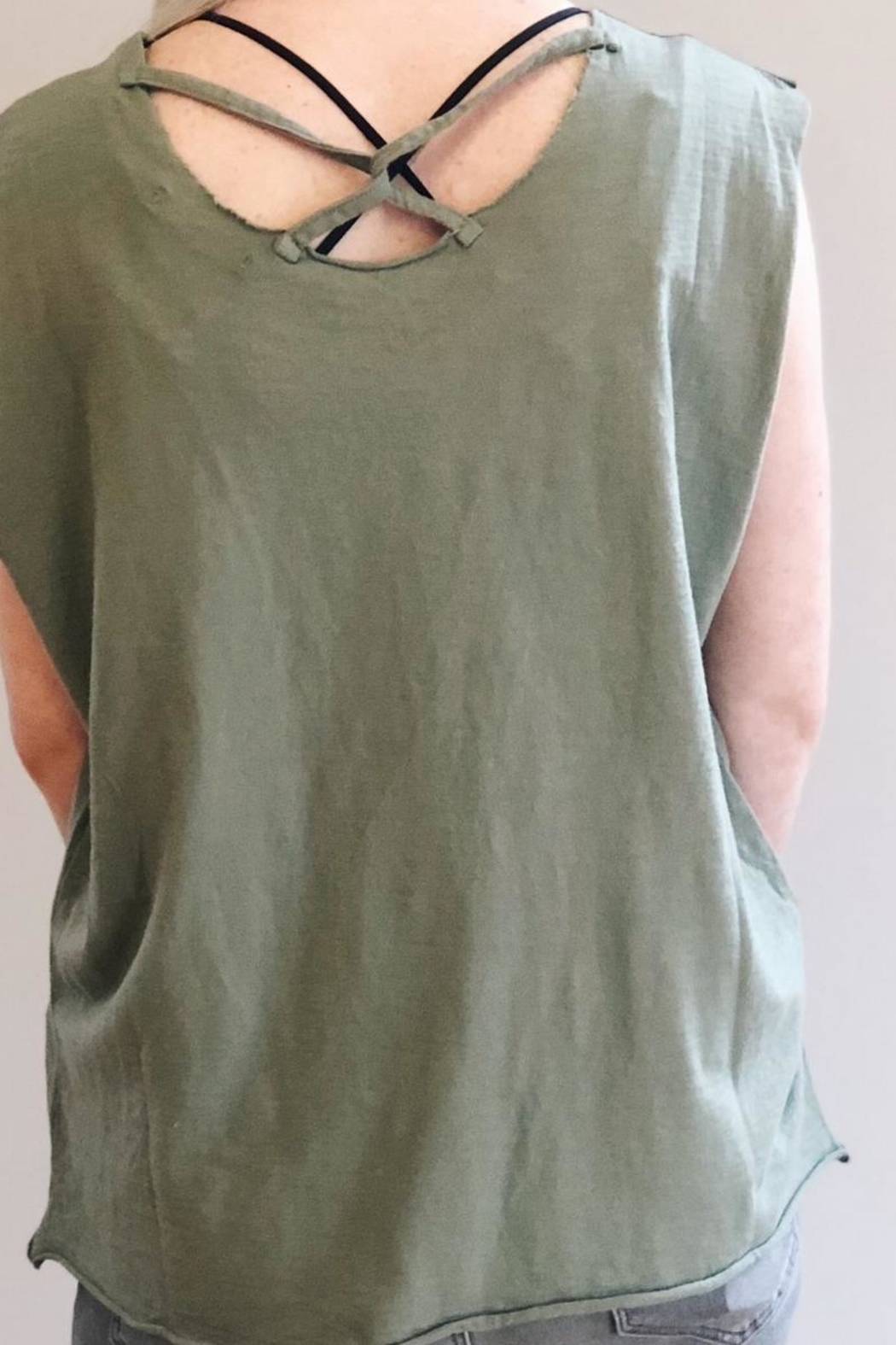 Baci Distressed Green Tank - Front Full Image