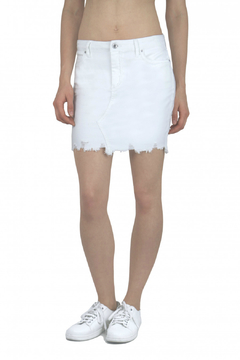 Tractr (New York Poplin) Distressed Hem 5 Pocket Denim Skirt - Product List Image