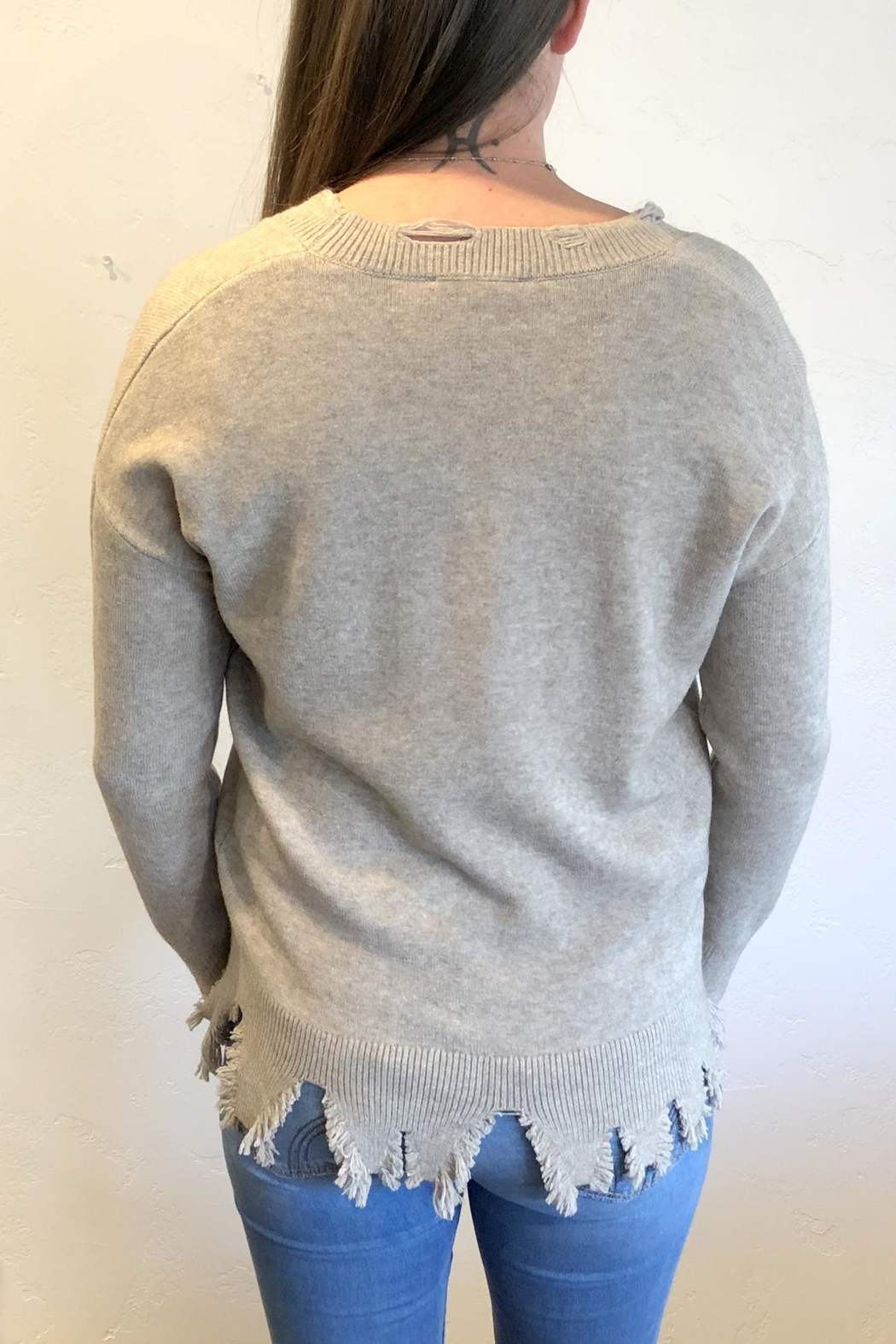 Sisters Knits Distressed Hem Sweater - Front Full Image