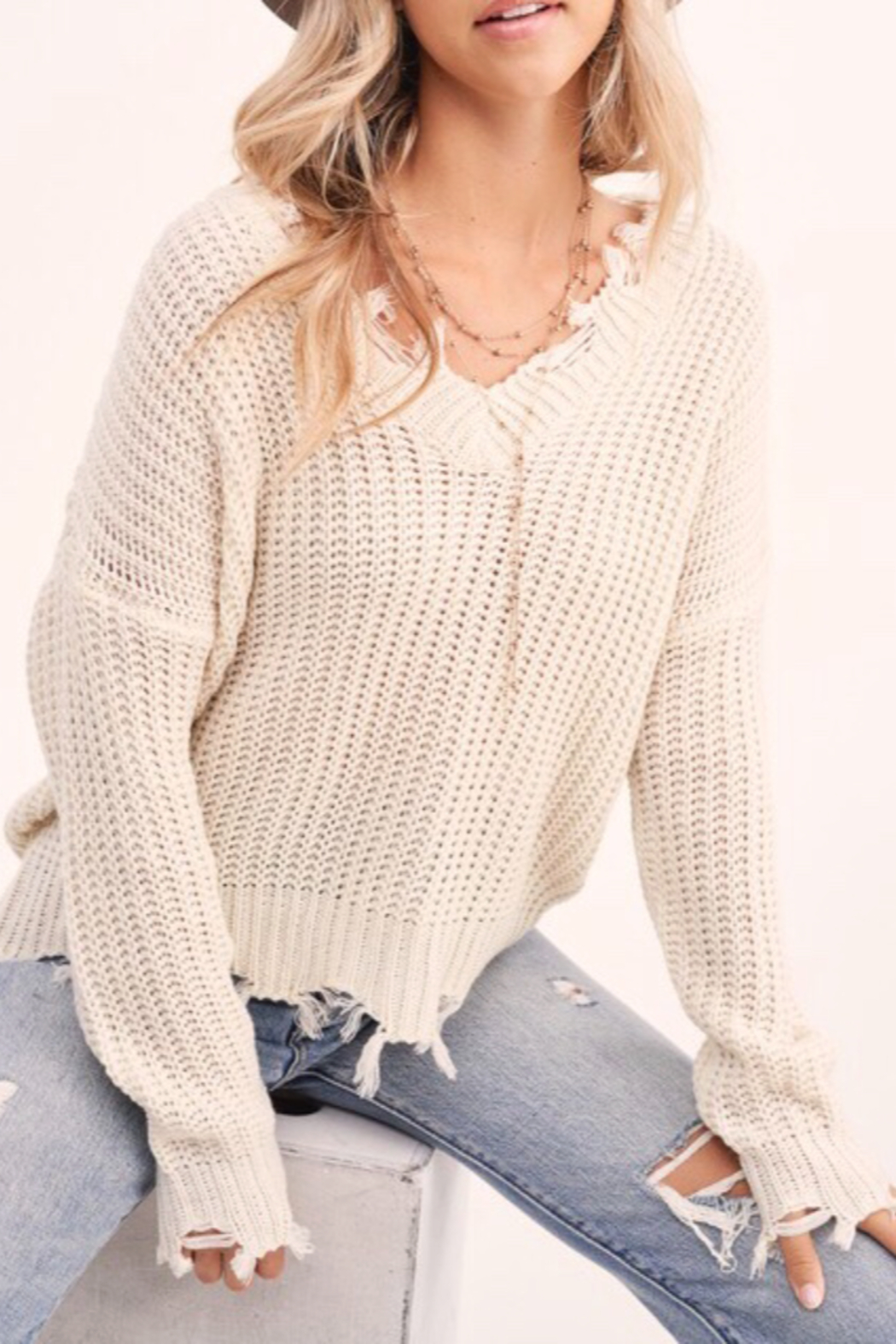 LA MIEL  Distressed Hem Sweater - Front Cropped Image