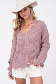 LA MIEL  Distressed Hem Sweater - Front cropped