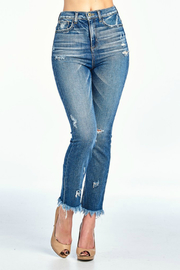 Sneak Peek Distressed High Rise Jean w Frayed Hem - Product Mini Image