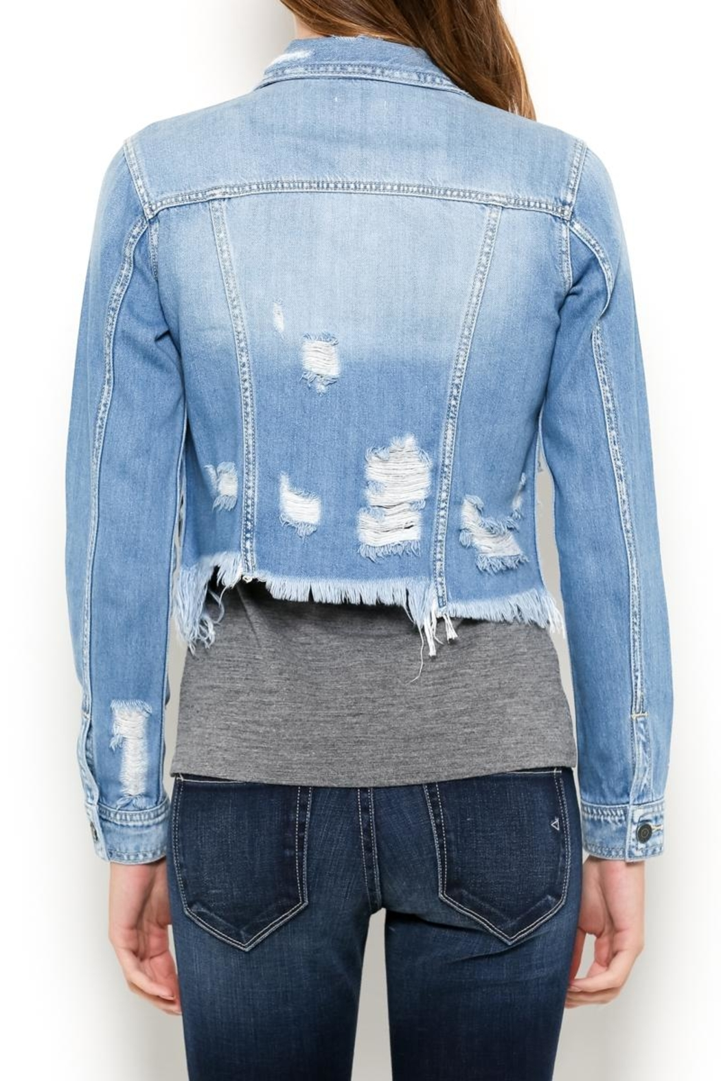 Hidden Jeans Distressed Jean Jacket - Side Cropped Image