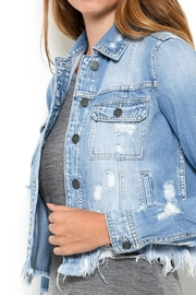 Hidden Jeans Distressed Jean Jacket - Back cropped