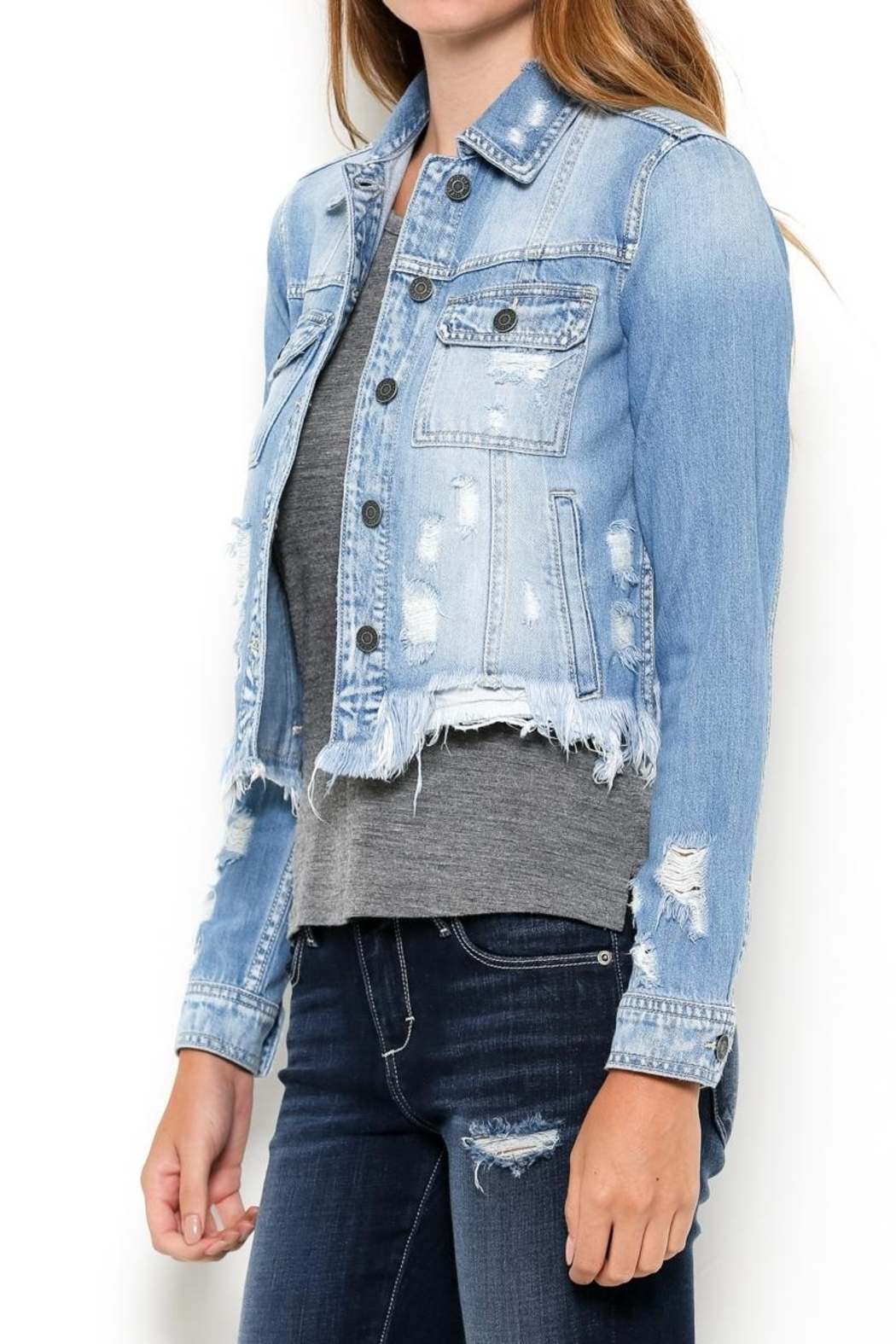 Hidden Jeans Distressed Jean Jacket - Front Cropped Image